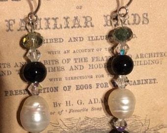 Pearl Crystal Bead Sterling Silver Earrings