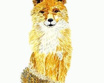 Animal print, Fox art print.