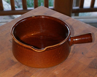 Brown Glazed Stoneware Pot with Pouring Lip and Handle