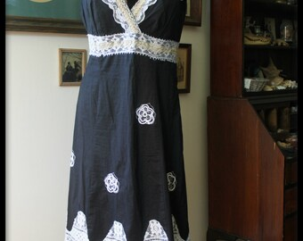 Black and White Witchy Gothic Lolita Tea Dress, Handmade UpCycled Steampunk Goth Dress Vintage Lace Antique Lace Dolly Kei Shabby Chic