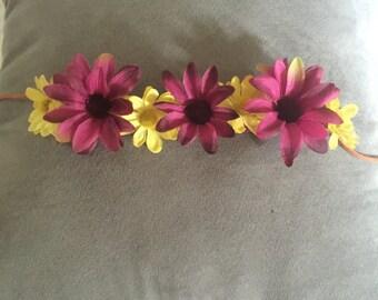 Pink & Yellow Flowerkrown- Short Length