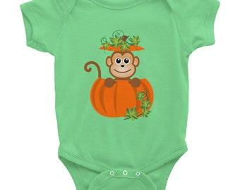 Baby Monkey Pumpkin Patch Short Sleeve Jumper, Fall Autumn Halloween Cotton One-Piece Infant Sleeper, Festive bodysuit costume 3012