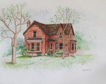 Original Watercolour House Paintings