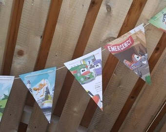 Planes Story Book Banner made from pages of a Planes book