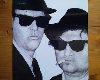 "Drawing print ""Blues Brothers"" on metal plate"