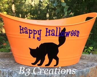 Halloween Candy Bucket, Halloween Oval Tub, Black Cat, Halloween Decoration, Trick or Treat, Kids
