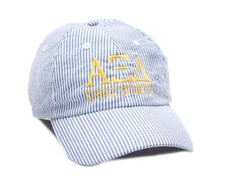 AXID  Alpha Xi Delta Sorority Seersucker Line Baseball Hat.