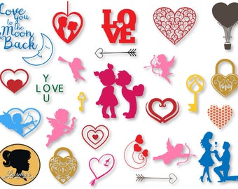 Romantic  Svg, Couple Love Silhouette,Love Silhouette,Heart, Love pack, Cupid love,  vector files,hearts clipart,Instant Download