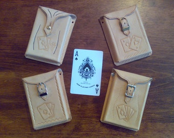 Leather covers for playing cards