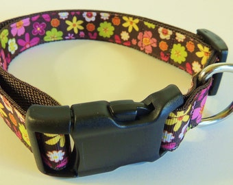 Large Brown Floral Dog Collar