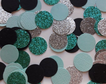Tiffany Party Confetti / Turquoise, Black, Silver Confetti / Glitter Confetti / Party Confetti / Teal, Silver, Black Confetti