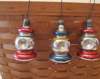 Lot of 3 Vintage Glass Christmas Ornaments