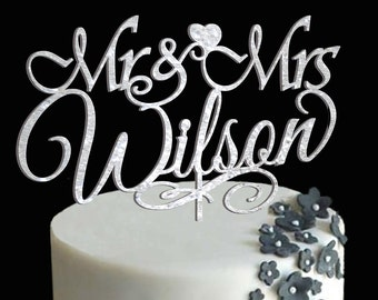 Personalized MR&MRS Wedding Cake Topper, Wedding Cake Decor, Anniversary - Bridal Shower - Wedding Gift, Valentine Day Cake Topper