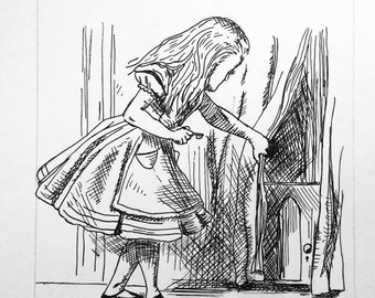 Customized Pen and Ink Drawing of Alice In Wonderland; The Little Door