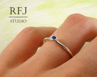 Lab Sapphire Classic Silver Ring, Blue 2 mm Gemstone Sterling Ring Simulate Blue Corund Sapphire Birthstone Ring, Blue Stone 925 Silver Ring