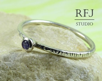 Textured Lab Amethyst Silver Ring, Purple CZ 2 mm Tiny Texture Stacking Sterling Ring Simulate Amethyst Hammered Ring Purple CZ 925 Silver