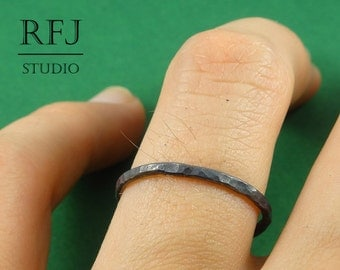 Black Stacking Silver Hammered Ring, Ring with medium Texture, Textured Ring, Stackable Blackened Ring, Silver Stackable Ring, Oxidized Ring