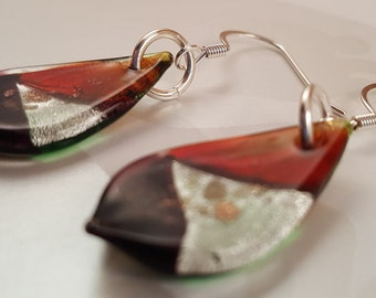 Silver & Brown Painted Glass Leaf Earrings
