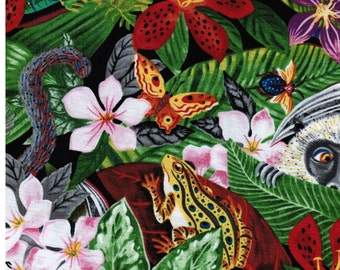 """Floral Fabric: Hoffman Jungle Dining Al Fresco Monkey and Frog Fabric 100% cotton fabric by the yard  36""""x44"""" (C165)"""