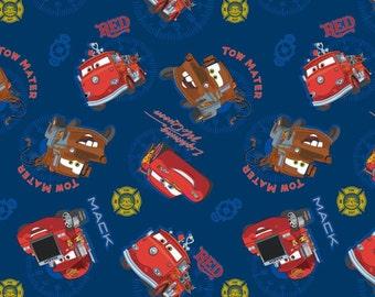 "Disney Fabric, Disney Pixar Fabric: Disney Cars -  All over Royal Blue  100% cotton fabric by yard 36""x43"" (SC206)"