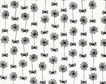 "Halloween Fabric - halloween cobweb fabric with black spiders 100% cotton Fabric by the yard 36""x43"" (H127)"