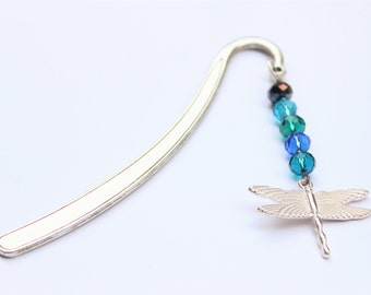 Dragonfly bookmark, Crystal bookmark, Christmas gift, Silver Dragonfly, Tibetan silver, gifts for animal lovers, Wonderfully coloured book