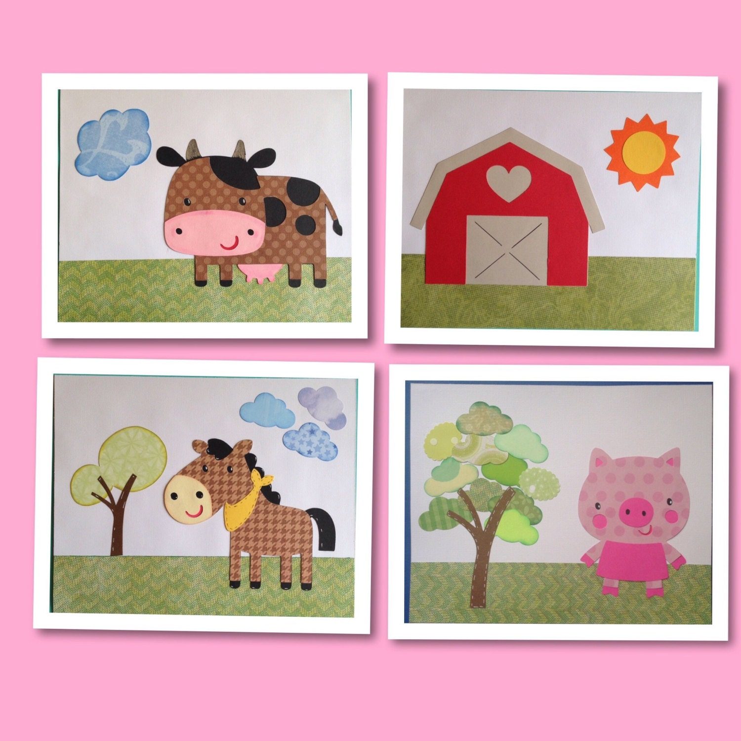 Farm animal nursery decor farm wall decor farm baby for Barnyard wall mural