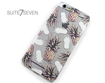 Rubber iPhone Case, Clear Samsung Galaxy Case, iPhone 6 Case, iPhone 6s Case, iPhone 7 Case, iPhone 7 Plus Case, Galaxy S7 Case, Pineapple