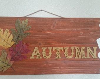 """Orange Rustic """"Autumn"""" Sign"""