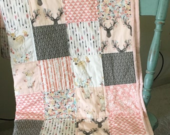 Baby girl woodland quilt