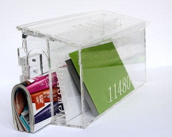 Personalized Engraved Mailbox House Gift Clear Acrylic Plexiglass Birthday New