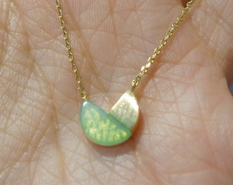 Necklace with Green Stone Pendant
