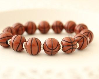 Basketball Bracelet - Basketball Gift - Basketball Favors - Basketball Team Gifts - Basketball Jewelry - Basketball Party Favors