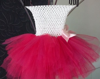 Tutu in white Tulle and fuschia dress