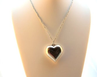 Silver Heart Crocheted Necklace