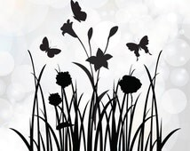 Grass and Wild flower Cut File - Instant Download svg, dxf, eps, jpg, pdf files - Vector files for Cameo Silhouette & other Cutter Machines