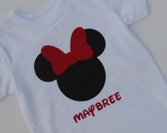 Minnie Mouse Shirt ~ Personalized ~ Glitter ~ Perfect for Birthdays or Disney Trips