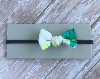 Teal, green and cream floral baby heaband