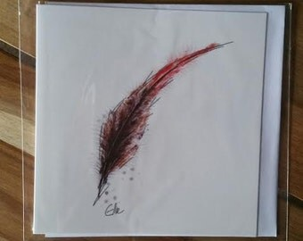 Greeting card - pheasant feather