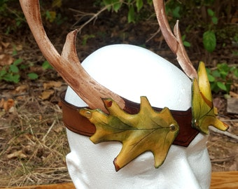 Leather Oak Leaf and Antler Crown Headdress - Green and Brown Leather Circlet