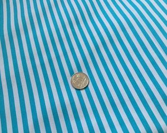 Turquoise White Stripes 100% Cotton Fabric