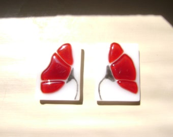 Red Poppy Fused Stained Glass Magnet Set of Two
