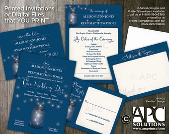 W1602 PRINTED Fireflies Wedding Save the Date Cards, Invitations, RSVP Cards, Wedding Programs and Thank You Cards