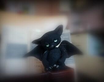 Needle felted black  cat  - Miniature sculpture cat- Handmade Felt toy - black cat   as a gift-realistic black cat