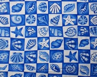 Seashell Fabric Ocean Fabric Starfish Fabric Home Decor Pillowcase Fabric Blue Fabric Nautical Fabric Craft Accessory
