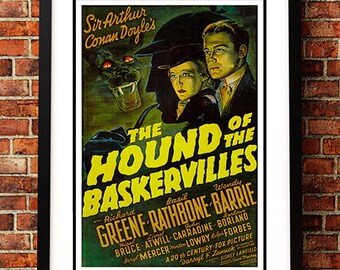 The Hound of the Baskervilles - Vintage Sci Fi / Horror Movie Poster Print