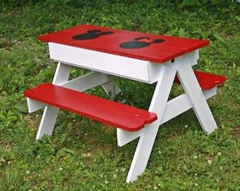 Kids picnic table and sand box