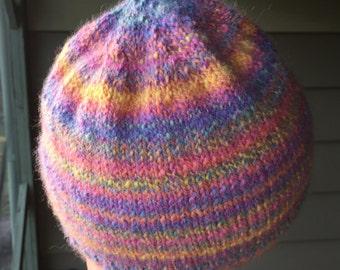 hand spun + knitted angora beanie