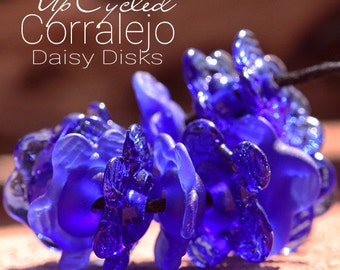 UpCycled Daisy Disk lampwork beads MTO from Corralejo Bottle glass for Jewelry Design