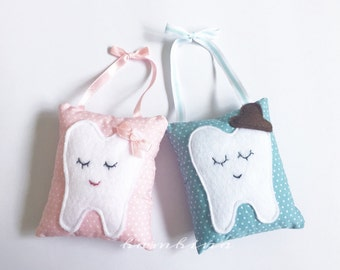 Tooth Fairy Pillow, blue & pink